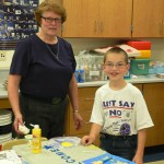 Janet Kopp doing arts and crafts at Clinton Middle School